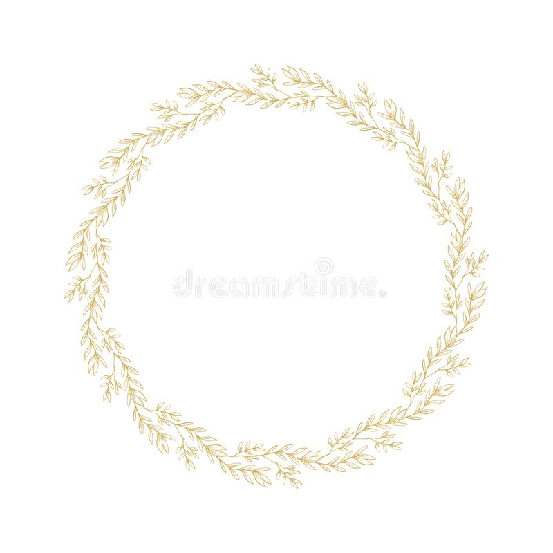 Frame Made of Flowers Isolated on White. Delicate Golden Sketched Floral Wreath. Lovely Hand Drawn Golden Twigs. Lovely Hand Drawn Golden Twigs, Branches Round royalty free illustration