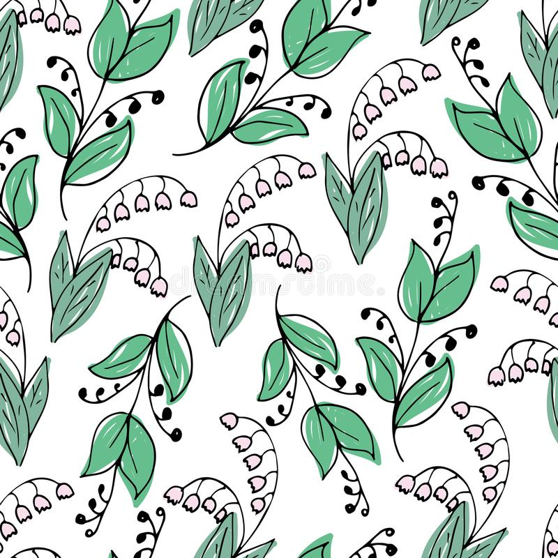 Lovely hand-drawn seamless pattern with lilies of the valley vector illustration