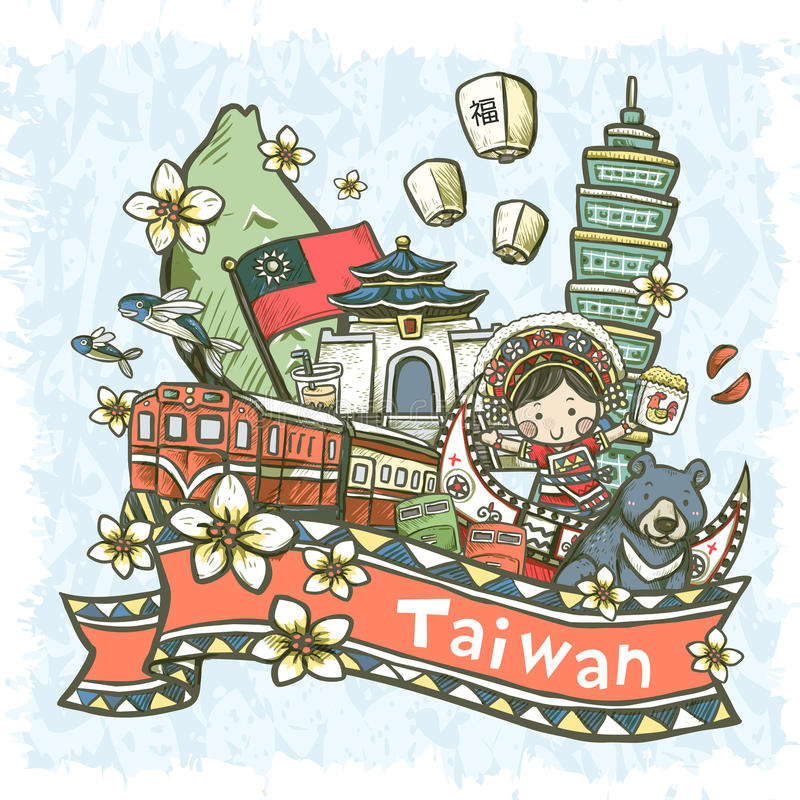 Lovely hand drawn style Taiwan specialties and attractions royalty free illustration