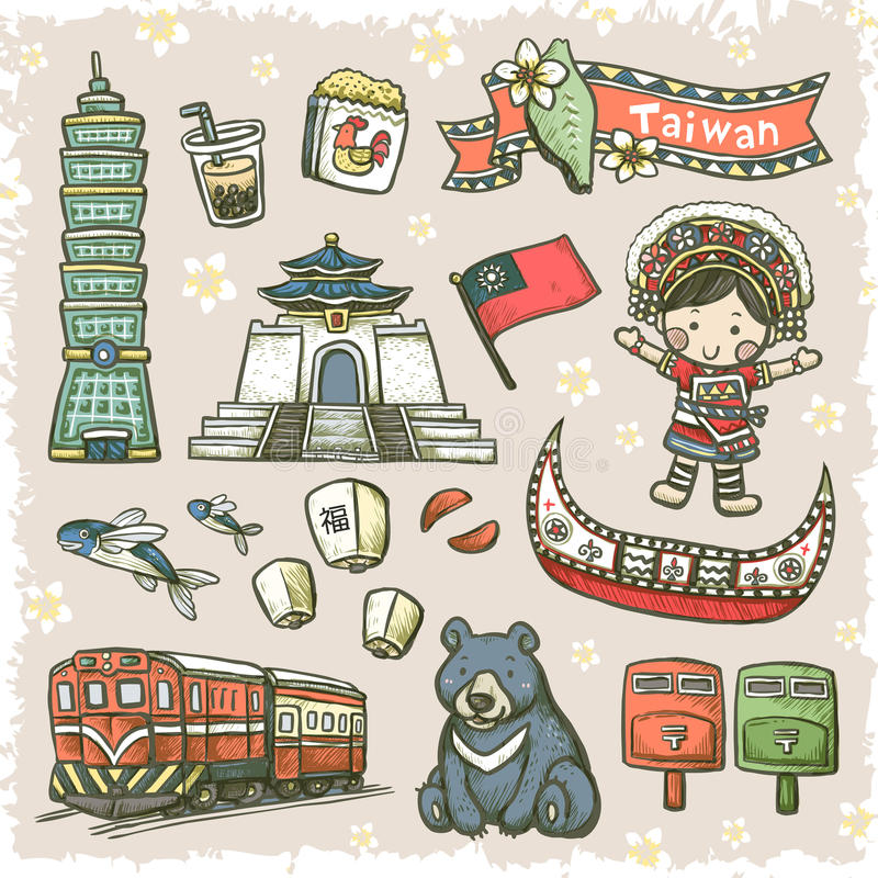 Lovely hand drawn style Taiwan specialties and attractions stock illustration