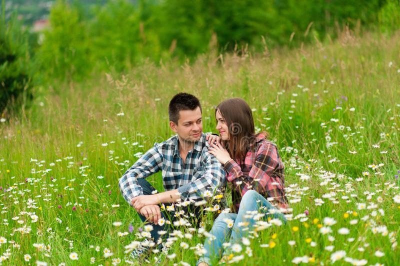 Loving couple having fun on summer vacation. Lovely happy couple have fun.romantic photo.Hugs together stock image
