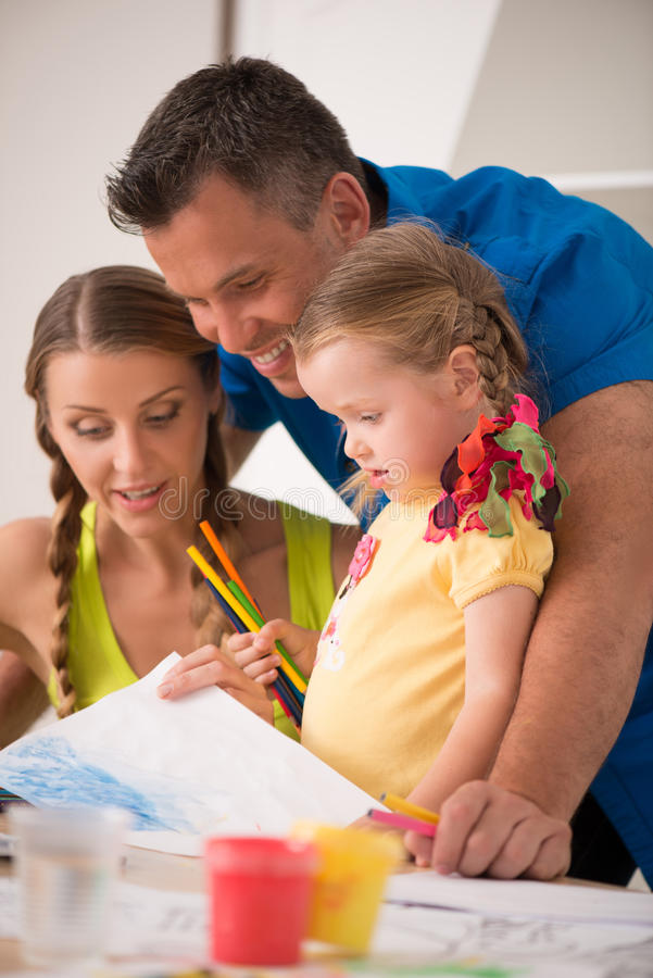 Download Lovely Happy Family Drawing And Painting At Home Stock Image - Image: 43298609