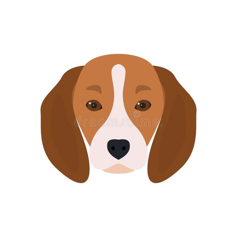 Lovely head bearded dog Beagle. stock illustration