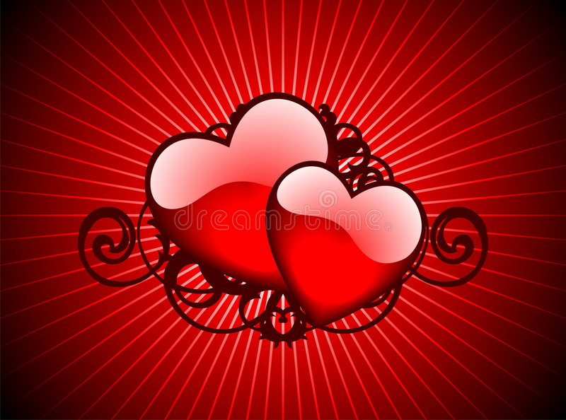 Lovely hearths. Valentin day illustration with lovely hearths on red background vector illustration