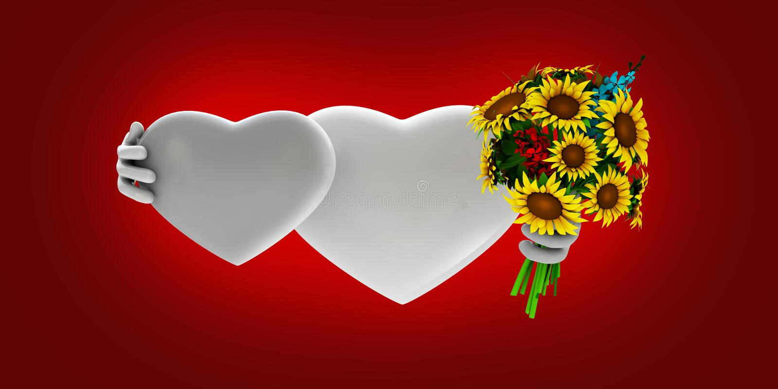 Lovely hearts onw red background royalty free illustration