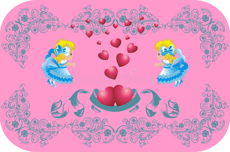 Download Lovely Hearts Surrounded By Angels Stock Vector - Image: 11738762