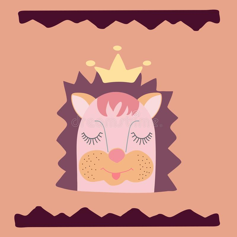 Lovely hedgehog in a crown and a hand-drawn wavy frame. vector illustration