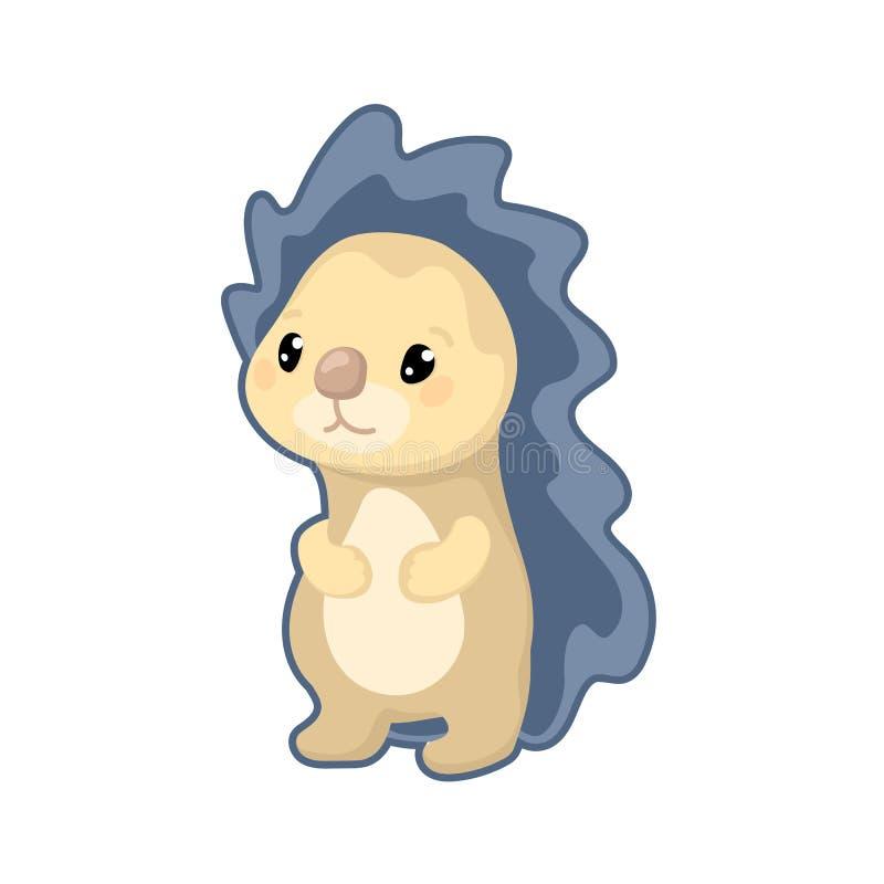 Lovely hedgehog illustration on white background. Woodland animal icon. Cute hedgehog clipart stock illustration