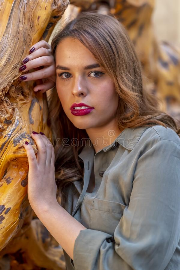 A Lovely Hispanic Brunette Model Poses Indoors On A Mexican Ranch stock images