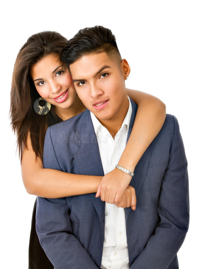 Lovely hispanic couple. Studio shot stock photos