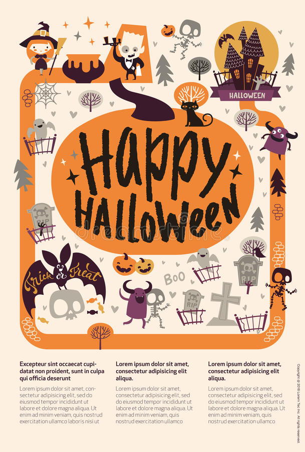 Lovely holiday Happy Halloween flyer template with funny and spooky cartoon characters and place for text. Vector. Illustration for festive party invitation royalty free illustration