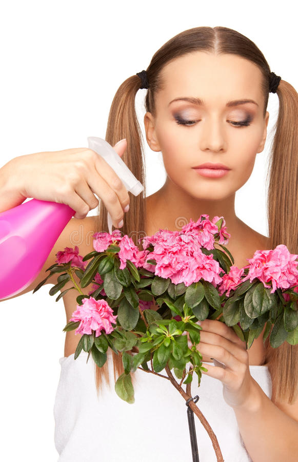 Download Lovely Housewife With Flowers Stock Photo - Image: 40403004