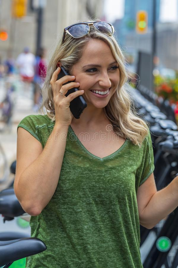 Lovely Hungarian Blonde Model Enjoying A Trip Around A Large Cit royalty free stock photography