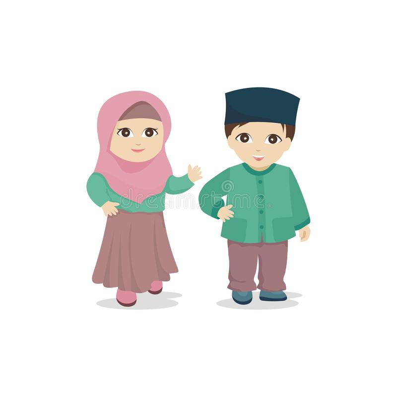 Lovely islamic - muslim kids stock illustration