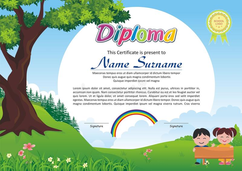 Lovely Kid Diploma - Certificate. Preschool / kindergarten Lovely Kid Diploma - Certificate template design with cute and beautiful landscape with rainbow design vector illustration