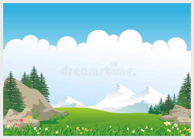 Lovely Kids Diploma template design. With landscape and blank area for text. Simple, colorful, adorable, lovely and cute design for kids royalty free illustration