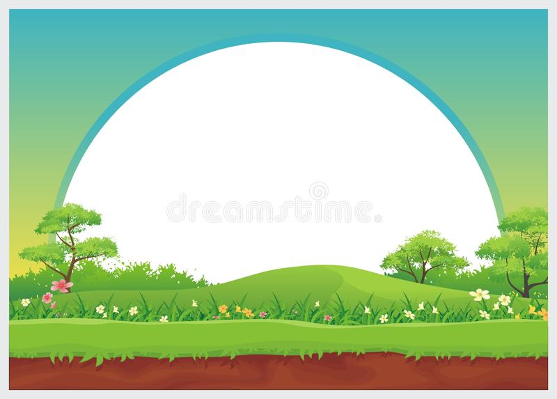 Lovely Kids Diploma template design. With landscape and blank area for text. Simple, colorful, adorable, lovely and cute design for kids stock illustration