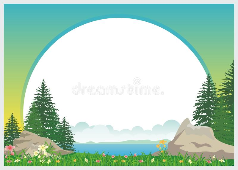 Lovely Kids Diploma template design. With landscape and blank area for text. Simple, colorful, adorable, lovely and cute design for kids vector illustration