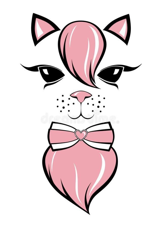 Lovely kitty with a pink bangs vector illustration