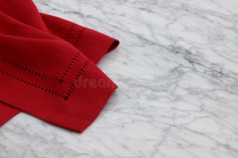 Lovely linen hemstitch napkins stock photography