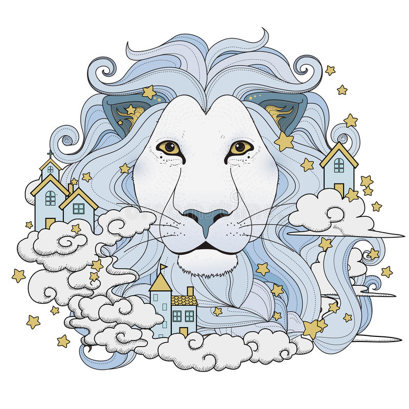 Lovely lion coloring page stock illustration