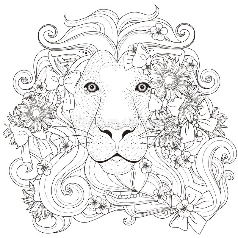 lovely lion coloring page royalty free illustration