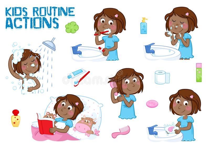 Lovely little black girl and her daily routine actions - white background stock illustration