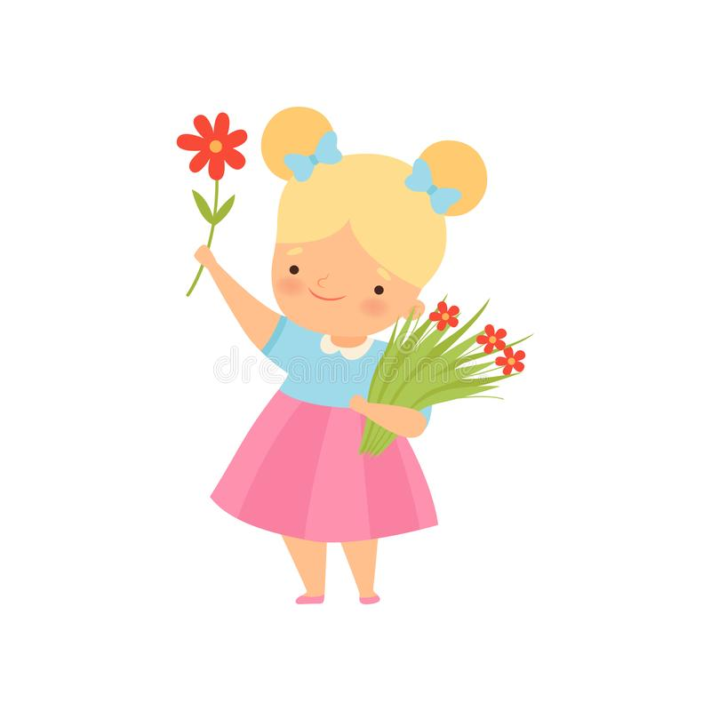 Lovely Little Blonde Girl with Bouquet of Red Flowers Cartoon Vector Illustration. On White Background vector illustration