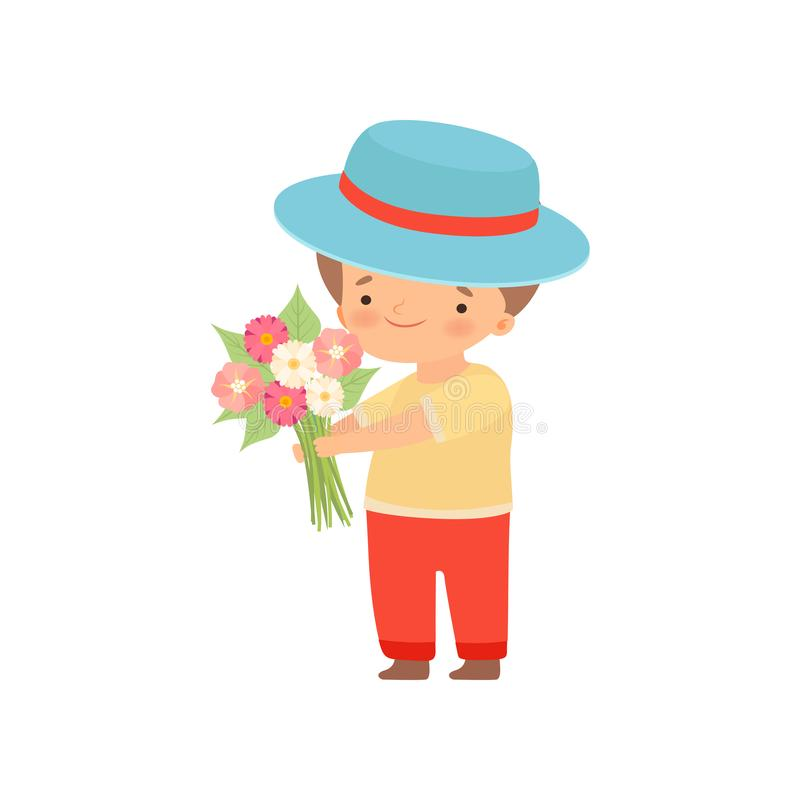 Lovely Little Boy in Hat Standing with Bouquet of Flowers Cartoon Vector Illustration. On White Background stock illustration