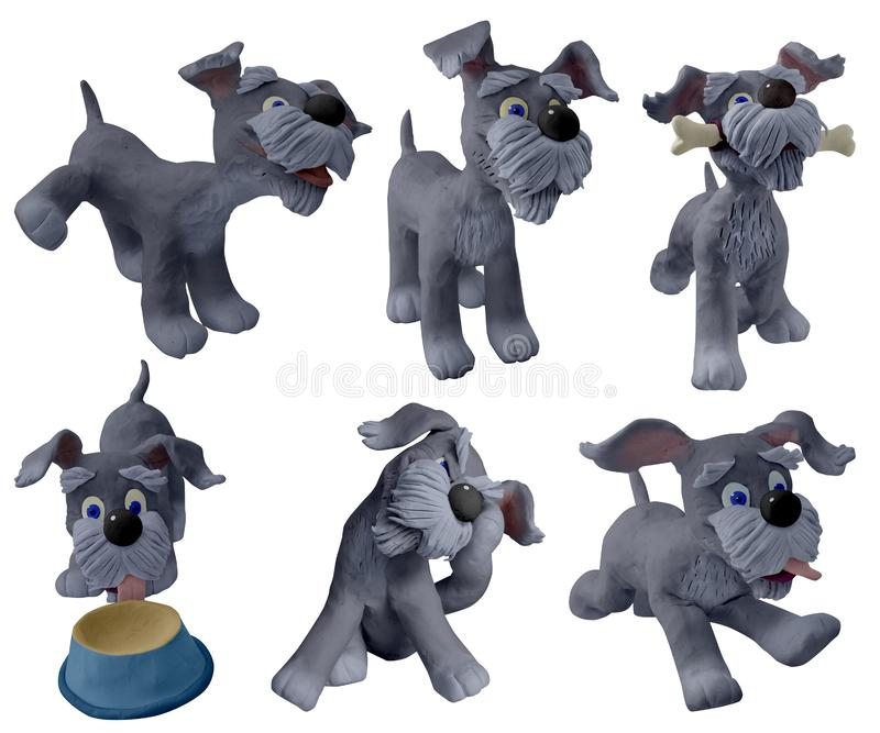 Lovely little dog, handmade with clay. Happy cartoon puppy, cute little dog. Dog friend.  handmade with plasticine. Isolated on white background – Image royalty free stock photo