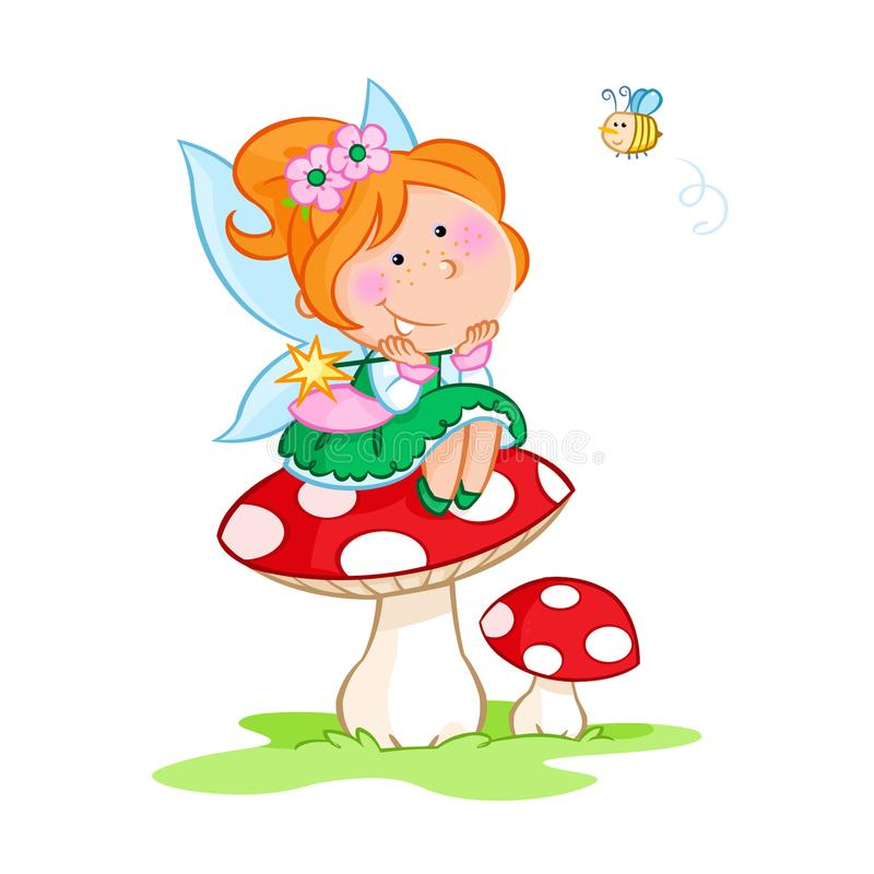 Lovely little fairy sitting on the red mushroom and cute little bee - white background vector illustration