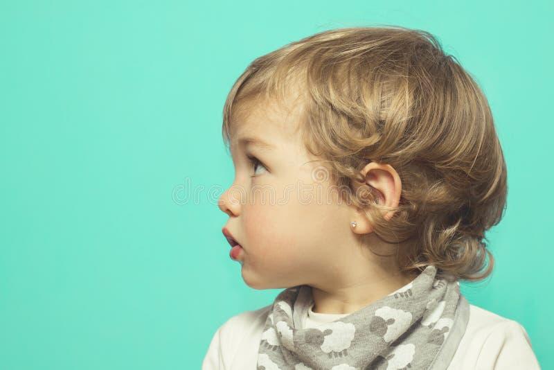 Lovely little girl on a blue background stock image