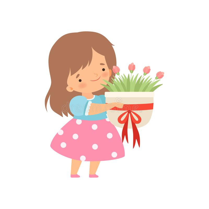 Lovely little Girl with Bouquet of Flowers Cartoon Vector Illustration. On White Background vector illustration