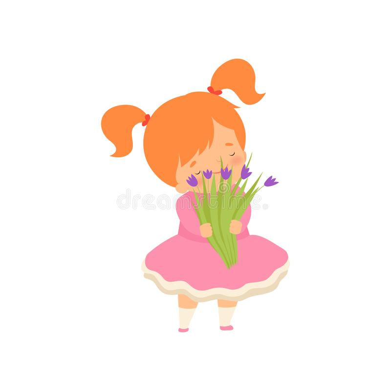 Lovely Little Girl with Bouquet of Wild Flowers Cartoon Vector Illustration. On White Background royalty free illustration