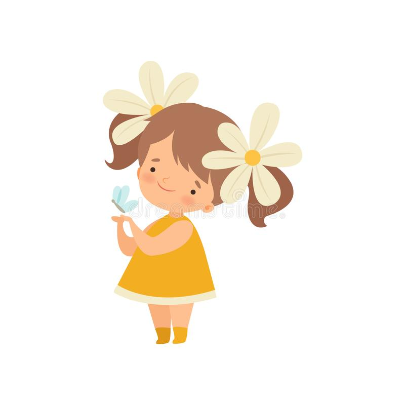 Lovely Little Girl with Chamomile Flowers in Her Hair Playing with Butterfly Cartoon Vector Illustration royalty free illustration