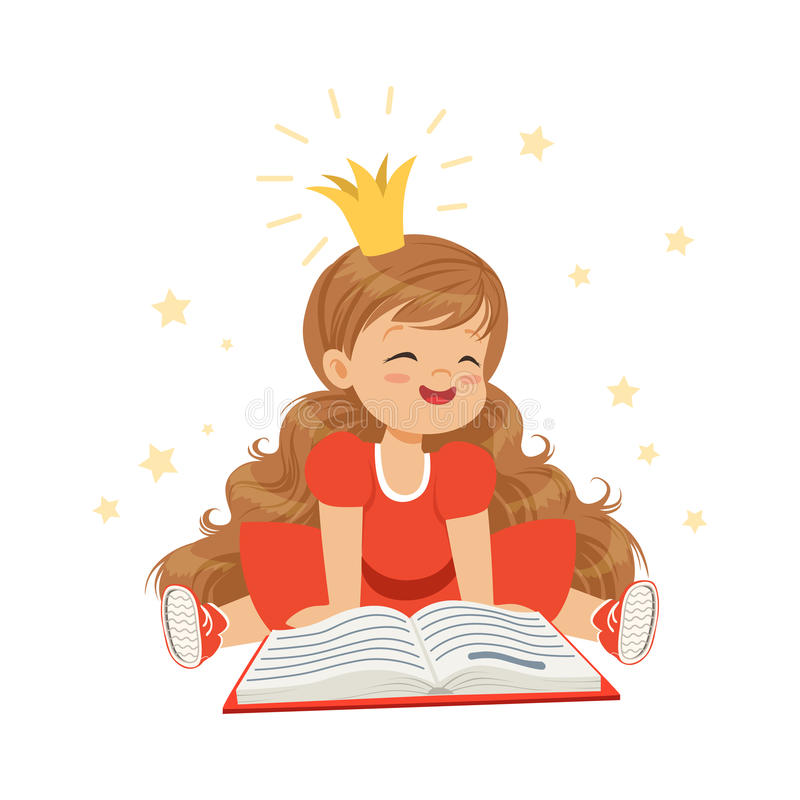 Lovely little girl in a crown and a red dress reading a book, kids imagination and fantasy, colorful character vector vector illustration