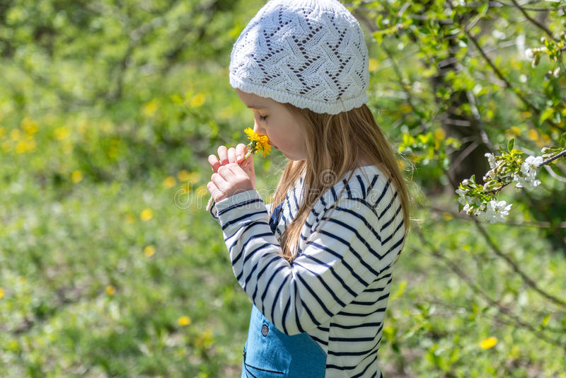 Lovely little girl smelling flowers in garden stock photo