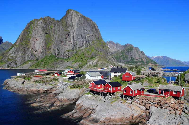 Lovely little village of Hamnoey in Lofoten royalty free stock photos