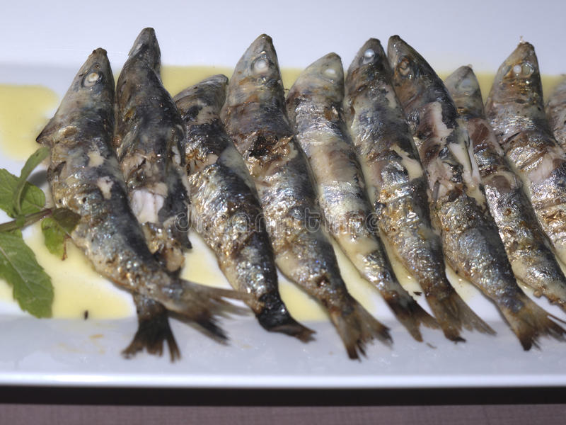 Lovely meal in Skala kalloni Lesvos Greece. Grilled Sardines meal. Skala Kalloni is famous for its sardines stock photos