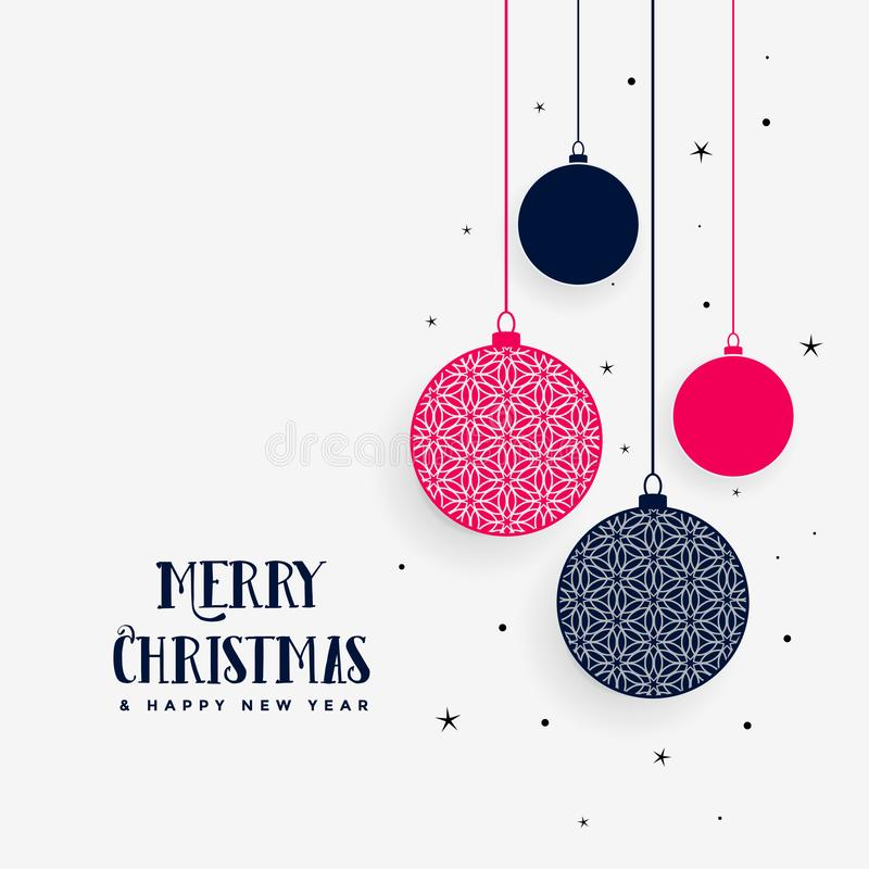 Lovely merry christmas greeting with hanging decorative balls. Vector vector illustration