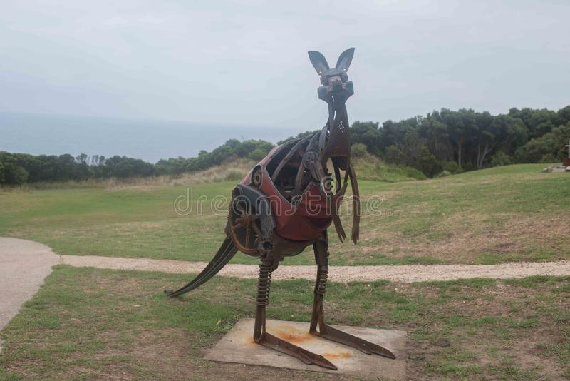 Metal Kangaroo Artwork at the Cape Otway Lighthouse royalty free stock images