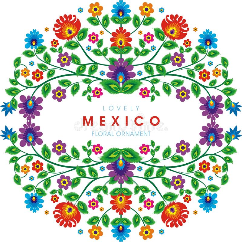 Lovely Mexican ethnic Floral decoration design. With colorful flowers frame design, suitable for wedding or party invitation, greeting card, Embroidered cloth vector illustration