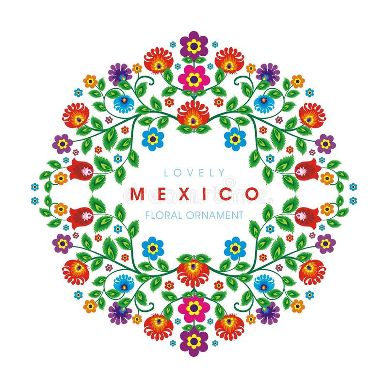 Lovely Mexican ethnic Floral decoration design royalty free stock photography