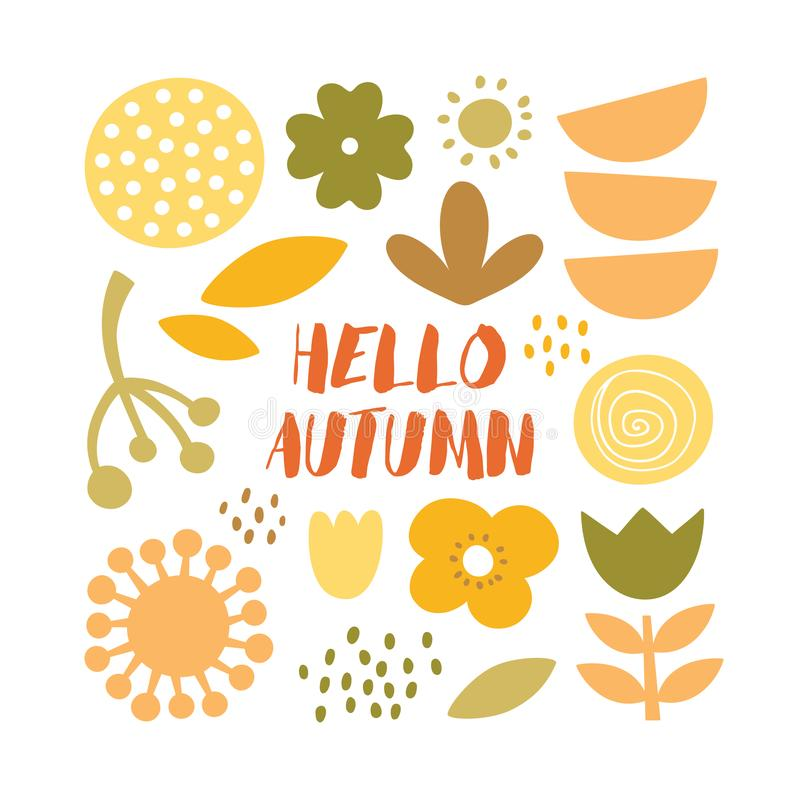 Lovely minimal autumn scandinavian cute vector print with plants, flowers and leafs royalty free stock photos
