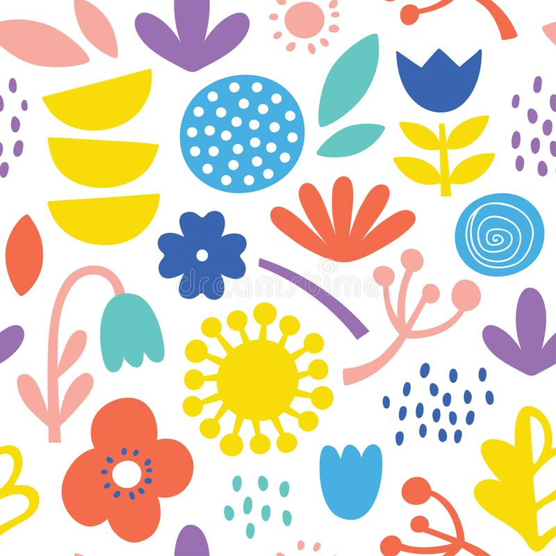 Lovely minimal scandinavian cute colorful vector seamless pattern with flowers, plants and leafs in bright colors stock photos