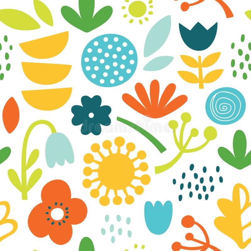 Lovely minimal scandinavian cute colorful vector seamless pattern with flowers, plants and leafs in bright colors stock photo