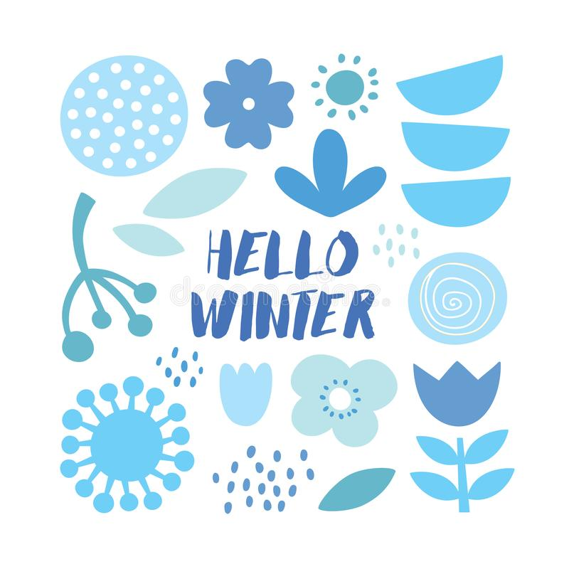 Lovely minimal winter scandinavian cute vector print with plants, flowers and leafs royalty free stock images