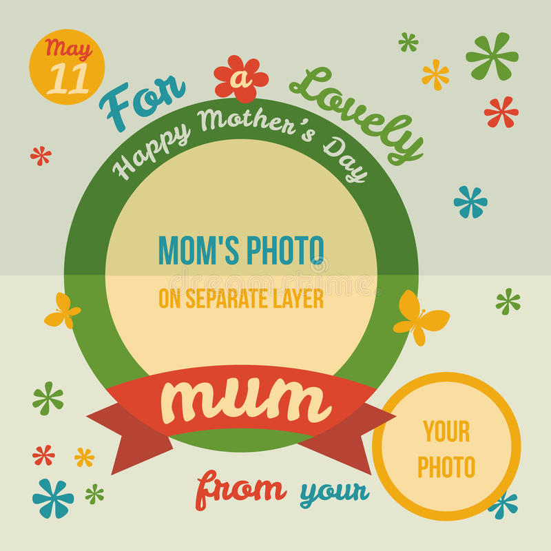For a lovely Mum greeting card flat design royalty free illustration