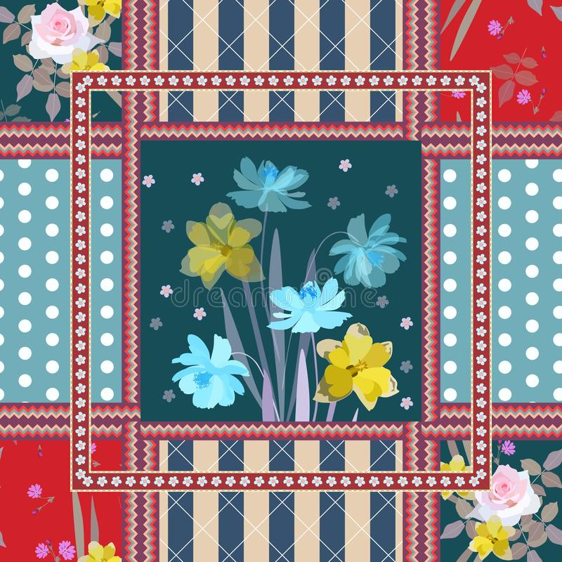 Lovely napkin with bouquet of cosmos and daffodils flowers,striped and polka dot background, zigzag borders in patchwork style. Lovely napkin with bouquet of vector illustration