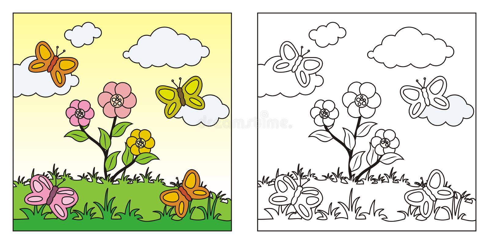Coloring Fruits Kids Stock Illustrations 203 Coloring